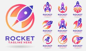 紫色火箭元素標志創意設計矢量素材