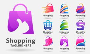 手提袋與購物車等標志創意矢量素材