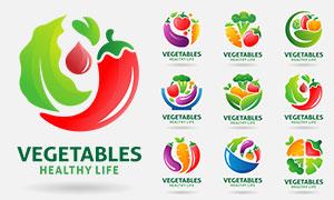 多彩配色蔬菜標志創意設計矢量素材