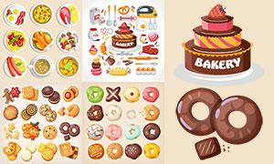 甜甜圈蛋糕与烘焙工具主题矢量素材