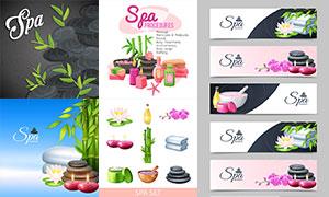 兰花竹子与毛巾等SPA物品矢量素材