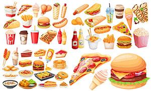 薯条汉堡包与披萨等快餐主题矢量图