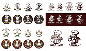 卡通效果廚師人物標志創意矢量素材