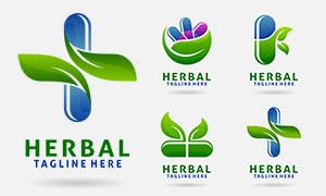 綠葉裝飾藥物膠囊標志創意矢量素材