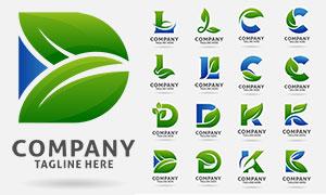 綠葉與英文字母等創意標志矢量素材