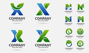 綠葉字母創意組合標志設計矢量素材