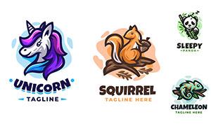 松鼠獨角獸等卡通動物標志矢量素材