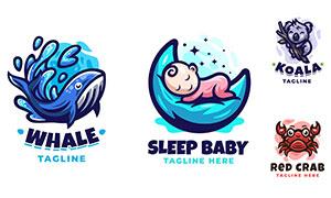 螃蟹與鯨魚等動物標志創意矢量素材