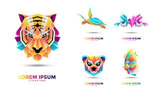 老虎與海龜等動物炫彩標志矢量素材