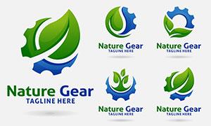 綠葉齒輪組合創意標志設計矢量素材