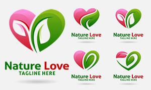 綠葉桃心組合創意標志設計矢量素材