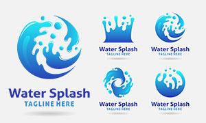 藍色飛濺水花創意標志設計矢量素材