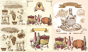 葡萄酒主题复古风素描绘画矢量素材
