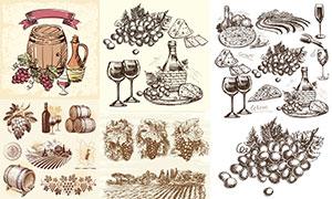 手绘素描效果葡萄主题设计矢量素材