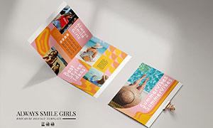 鲜明色彩宣传折页版式设计矢量素材