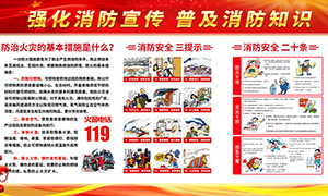 普及消防知识宣传栏设计PSD素材