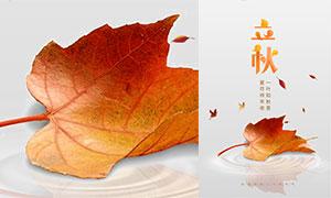 橙色主题立秋节气海报设计PSD素材