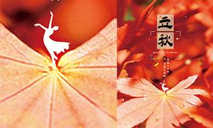 秋季楓葉主題立秋節氣海報PSD素材
