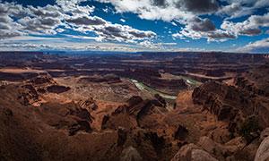 蓝天白云峡谷地带风光摄影高清图片