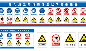 施工現場安全警示標示設計矢量素材