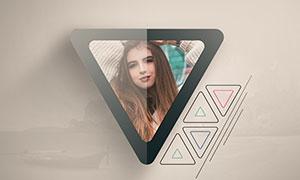 圆角样式三角图形边框照片模板素材