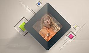 圆角矩形效果装饰边框照片模板素材