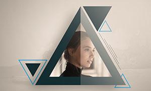 三角形图形装饰边框照片模板源文件