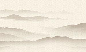 中国风水墨山水背景设计PSD素材