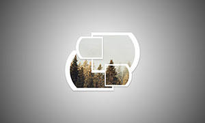 弧线几何图形创意照片智能模板素材
