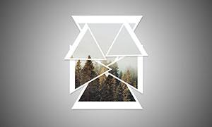 三角形形状相框效果照片模板源文件