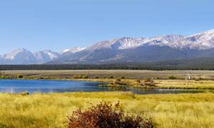 雪山下的青藏高原美景摄影图片