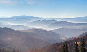云雾缭绕的山林全景图摄影图片