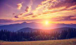 夕阳下的草地和山林美景摄影图片