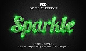 纹理装饰绿色光效立体字模板源文件