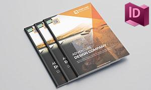 橙色图形元素创意画册版式设计模板