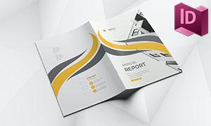 黑黄配色年度报告画册版式设计模板