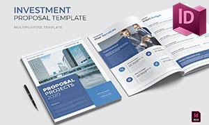 蓝色商务情景创意画册版式设计模板