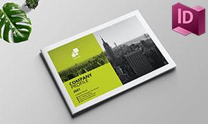 草绿配色公司商务画册版式模板素材
