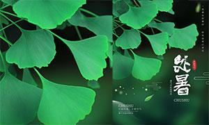 銀杏葉主題處暑節氣海報設計PSD素材