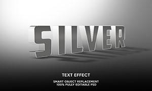 网格纹理装饰银色立体字模板源文件