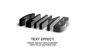 黑色渐变立体透视效果文字模板素材