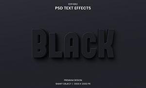 黑色效果阴影立体字设计模板源文件