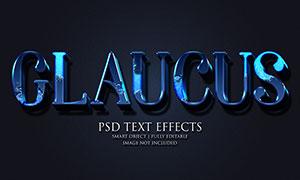 光泽质感效果蓝色立体字模板源文件
