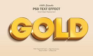 金色金属质感效果立体文字模板素材