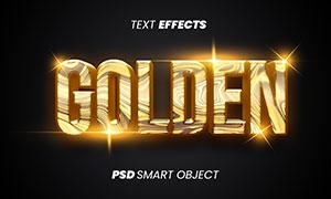 金色抽象纹理立体字设计模板源文件