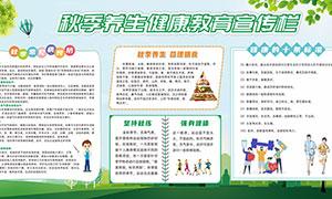 秋季养生健康教育宣传栏设计矢量素材