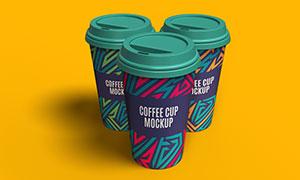 三个组合展示的咖啡杯图案样机模板