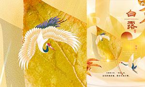金黄色白露节气宣传海报设计PSD素材