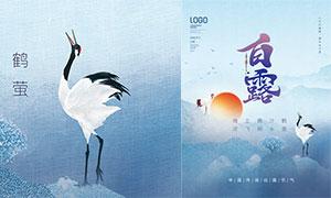 红日和仙鹤主题那少女不堪蹂躏白露节气海报PSD素材