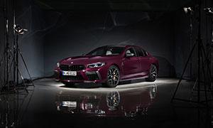 酒红色宝马M8跑车展示摄影高清图片